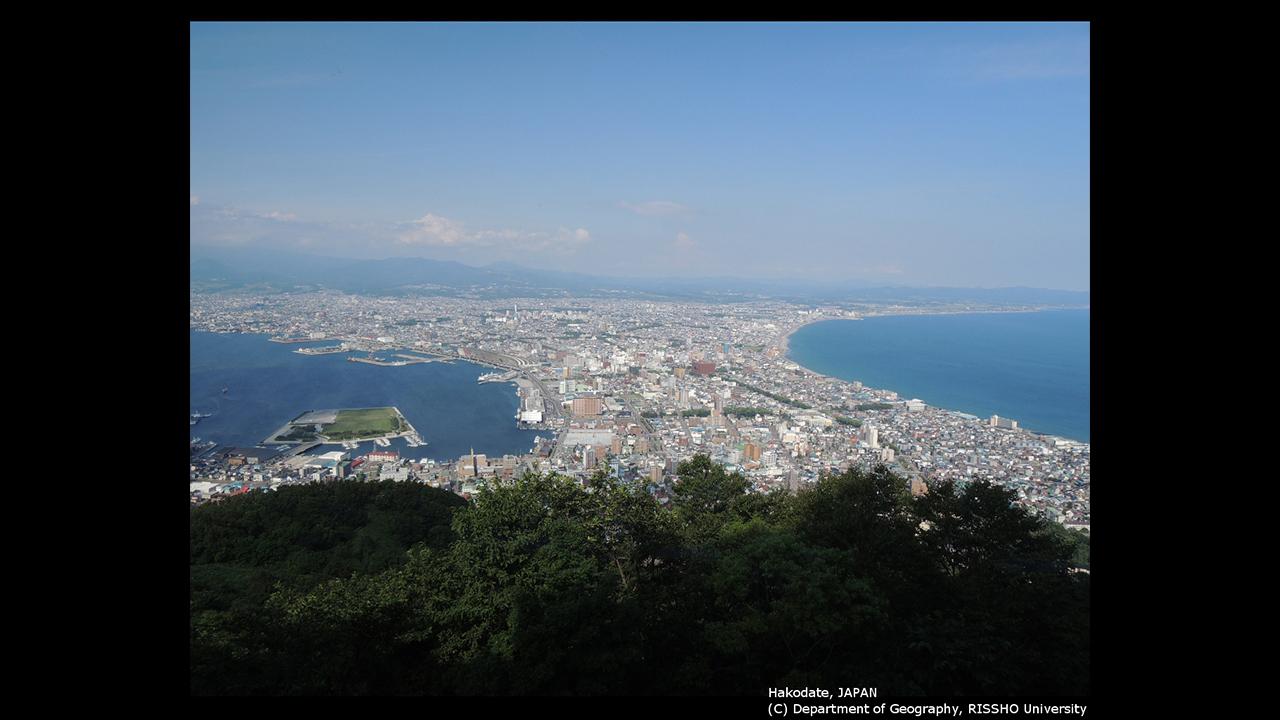 函館の市街地とグリーンベルト