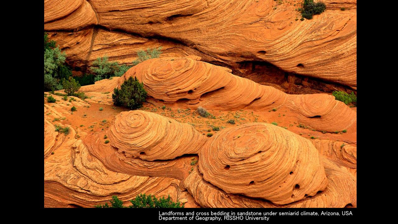 半乾燥地域の斜交葉理と地形
