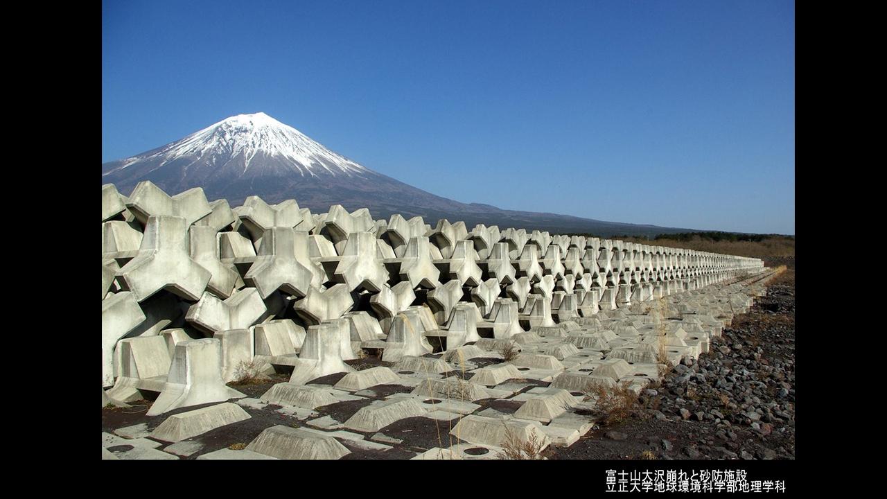 富士山大沢崩れと砂防施設